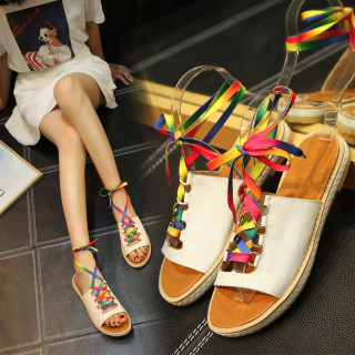 Arden Furtado Summer Fashion Trend Women's Shoes  Sexy Elegant Round Toe Pure Color Cross Lacing Sandals Personality Leather