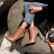 Arden Furtado Fashion Women's Shoes Winter Pointed Toe Stilettos Heels Zipper Short Boot Sexy Elegant Ladies Boots Pure Color
