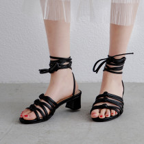 Arden Furtado Summer Sexy Fashion Trend Women's Shoes Elegant Pure Color Sandals Ankle Strap Leather Classics Narrow Band