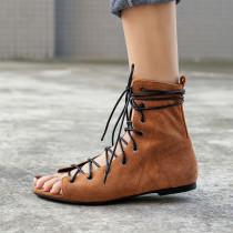 Arden Furtado Summer Fashion Trend Women's Shoes Pure Color Peep Toe Women's Boots Cross Lacing Short Boots  Matte Concise