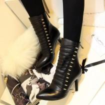 Arden Furtado Fashion Women's Shoes Winter  Pointed Toe Stilettos Heels Zipper Sexy Elegant Ladies Boots Concise Pure Color