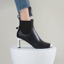 Arden Furtado Fashion Women's Shoes Winter  Sexy Elegant Ladies Boots Concise Chunky Heels Women's Boots  Leather Short Boots