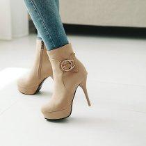 Arden Furtado Fashion Women's Shoes Winter Pointed Toe Stilettos Heels Burgundy Zipper Sexy Elegant Ladies Boots Concise Buckle