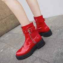 Arden Furtado Fashion Women's Shoes Winter  Ladies Boots Concise Zipper Short Boots  Red Leather Personality Sweet Mature Buckle