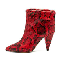 Arden Furtado Fashion Women's Shoes Special-shaped Heels Elegant Serpentine Ladies Boots Concise Slip-on Short Boots cone heels