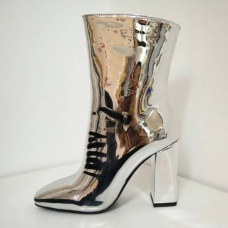 Arden Furtado Fashion Women's Shoes Winter Pointed Toe Chunky Heels Zipper Elegant Ladies Boots Concise patent leather Silver