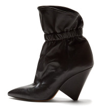 Arden Furtado Fashion Women's Shoes Winter Classics Special-shaped Heels Mature Pointed Toe Short Boots Pleated Catwalk boots
