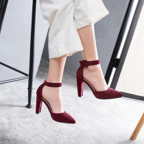 Arden Furtado Summer Fashion Trend Women's Shoes Pointed Toe pure color Buckle Chunky Heels  Sexy Elegant Sandals Party Shoes