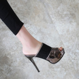 Arden Furtado Summer Fashion Trend Women's Shoes  Peep Toe Sexy Elegant Waterproof Slippers  Leather Mature Classics