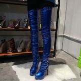 Arden Furtado fashion women's shoes round toe stilettos heels party shoes blue leather rivets over the knee high boots