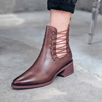 Arden Furtado New winter Black brown Round head women's boots short boots burgundy cross tied matin boots shoes