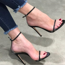 Arden Furtado summer Stilettos heels Black Personality Women's shoes Fashion narrow band sandals Big size