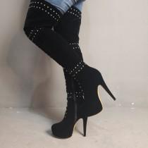 Arden furtado Winter zipper Stilettos heels Fashion Women's boots Thigh high boots rivets boots platform shoes