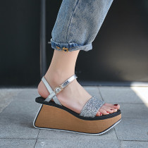 Arden furtado summer Silver champagne Platform Sandals High heels Fashion Elegant Women's shoes