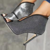 Arden furtado summer   zipper Sequins Stilettos heels Fashion Women's boots Short boots While the boots