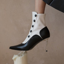 Arden Furtado Fashion Women's Shoes Winter  Pointed Toe Stilettos Heels Zipper Sexy  Mixed Colors Elegant LadiesShort Boots