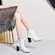 Arden Furtado Fashion Women's Shoes Winter Square Head Chunky Heels Zipper Elegant Ladies Boots pure color Short Boots  Leather