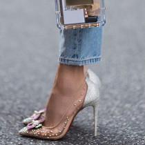 spring summer high heels 12cm stilettos clear mesh flowers wedding shoes big size mesh pumps
