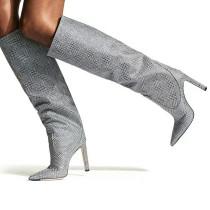 Arden Furtado Fashion Women's Shoes Winter Pointed Toe Stilettos Heels Zipper Sexy Elegant Boots pure color Knee High Boots
