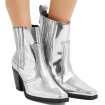 Arden Furtado Fashion Women's Shoes Winter Chunky Heels Elegant Ladies Boots pure color silverElegant Short Boots  Big size 45