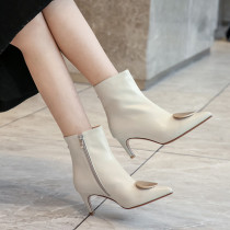 Arden Furtado Fashion Women's Shoes Pointed Toe Stilettos Heels Zipper Sexy Elegant Ladies Boots Short Boots