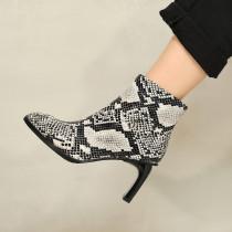 Arden Furtado Fashion Women's Shoes Winter Square Head Chunky Heels Zipper Elegant Boots Zipper serpentine ankle Boots