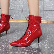 Arden Furtado Fashion Women's Shoes Winter Pointed Toe Stilettos Heels Elegant Ladies Boots pure color Cross Lacing Short Boots