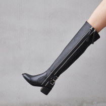 Arden Furtado Fashion Women's Shoes Winter Pointed Toe Chunky Heels Zipper pure color Knee High Boots Classics Mature Concise