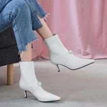 Arden Furtado Fashion Women's Shoes Winter Pointed Toe Stilettos Heels Zipper Sexy Elegant Ladies Boots pure color Short Boots