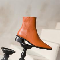 Arden Furtado Fashion Women's Shoes Winter pure color  Square Head brown Zipper Leather Concise Classics Mature Short Boots