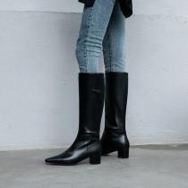 Arden Furtado Fashion Women's Shoes Winter Pointed Toe Chunky Heels Zipper Elegant Ladies Boots Knee High Boots Mature Classics