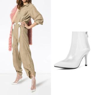 Arden Furtado Summer Fashion Women's Shoes Pointed Toe Stilettos Heels Zipper Sexy Elegant clear pvc boots