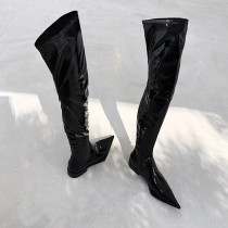 Arden Furtado Fashion Women's Shoes Pointed Toe Shining leather Over The Knee Thigh High Boots flat booties