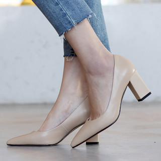 Arden Furtado Spring And autumn Fashion Women's Shoes Pointed Toe Chunky Heels  Sexy Elegant pure color Slip-on Party Shoes