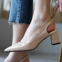 Arden Furtado Summer Fashion Trend Women's Shoes Pointed Toe Chunky Heels Sexy Elegant pure color Buckle Elegant Leather Concise