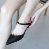 Arden Furtado Summer Fashion Trend Women's Shoes Pointed Toe Stilettos Heels Sexy Elegant  pure color Mules Slippers Leather