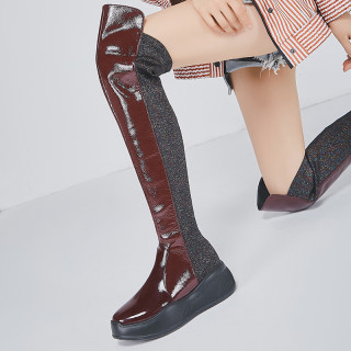 Arden Furtado Fashion Women's Shoes Winter Round Toe Leisure Mature Classics Over The Knee High Boots Mixed Colors Mature