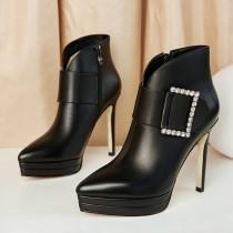 Arden Furtado Fashion Women's Shoes Winter Pointed Toe Stilettos Heels Zipper pure color  Sexy Elegant Ladies Boots Concise