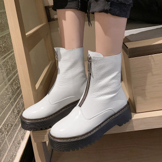 Arden Furtado Fashion Women's Shoes Winter pure color Zipper Elegant Mature Concise Round Toe Women's Boots Short Boots Leather