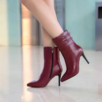 Arden Furtado Fashion Women's Shoes Winter Pointed Toe Stilettos Heels Zipper Sexy Elegant Ladies Boots Concise Mature Buckle