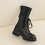 Arden Furtado Fashion Women's Shoes Winter   Sexy Elegant Ladies Boots Concise pure color Cross Lacing  Leather Concise Classics