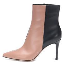 Arden Furtado Fashion Women's Shoes Winter Elegant  sexy Pointed Toe Stilettos Heels  Leather Zipper Mixed Colors Short Boots