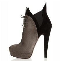 Arden Furtado Fashion Women's Shoes Winter Pointed Toe Chunky Heels Cross Lacing Waterproof Short Boots Suede Chunky Heels