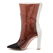 Arden Furtado Summer Fashion Trend Women's Shoes Pointed Toe Chunky Heels Mature Zipper pure color Knee High Boots Mixed Colors