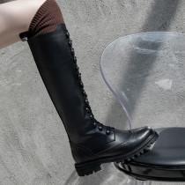 Arden Furtado Fashion Women's Shoes Winter pure color Concise Cross Lacing Classics Mature Knee High Boots Leather Elegant