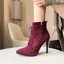 Arden Furtado Fashion Women's Shoes Winter Pointed Toe Stilettos Heels Zipper Cross Lacing Sexy Elegant Ladies Boots pure color