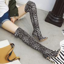 Arden Furtado Fashion Women's Shoes Winter Elegant Ladies Boots Leopard Print Slip-on Waterproof Over The Knee High Boots