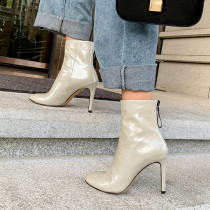 Arden Furtado Fashion Women's Shoes Winter Pointed Toe Stilettos Heels Zipper Sexy Elegant Ladies Boots Concise Mature pure color  Zipper Short Boots