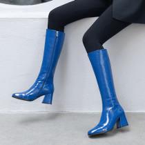 Arden Furtado Fashion Women's Shoes Winter Sexy Elegant Ladies Boots patent leather pure color blue Mature zipper Women's Boots Knee High Boots Concise