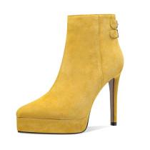Arden Furtado Fashion Women's Shoes Winter Pointed Toe Stilettos Heels Zipper  pure color  Sexy Elegant Ladies Boots Waterproof